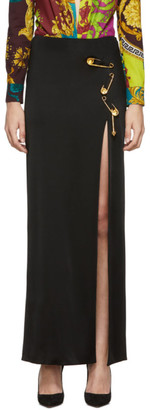 Versace Black Long Safety Pin Skirt