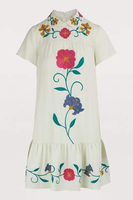 RED Valentino Mexican Flower embroidered dress
