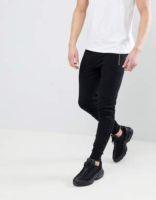 Asos Design Super Skinny Joggers With Gold Zip Pockets In Black
