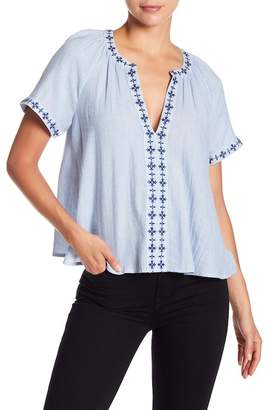 Lucky Brand Embroidered Split Collar Blouse