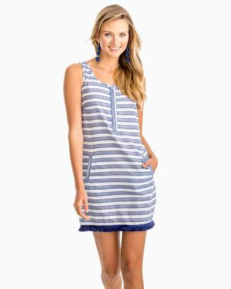 Southern Tide Corrine Fringe Hem Sleeveless Striped Dress
