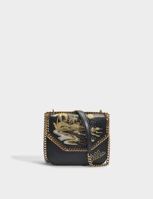Stella McCartney Hawaiian Embroidery Falabella Box Shoulder Bag in Black and Gold Polyurethane