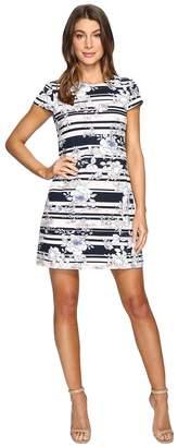 Jessica Simpson Printed Texture Knit T-Shirt Dress Women's Dress
