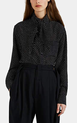 PLAN C Women's Polka Dot Silk Tieneck Blouse - Black