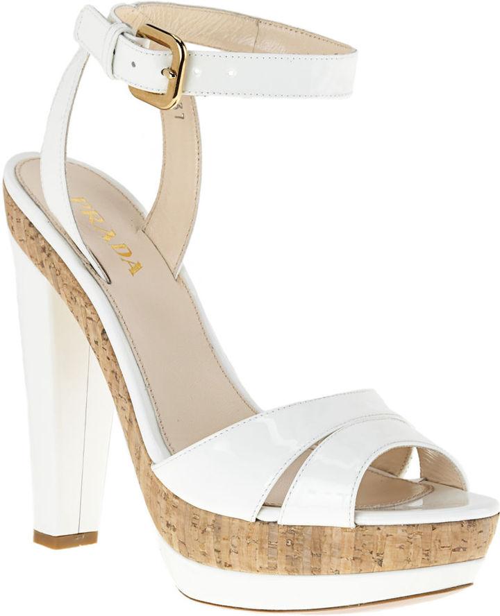 PRADA Platform Cork Sandal - White