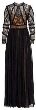 Murad Zuhair Long Sleeve Multi-Lace Cutout Gown