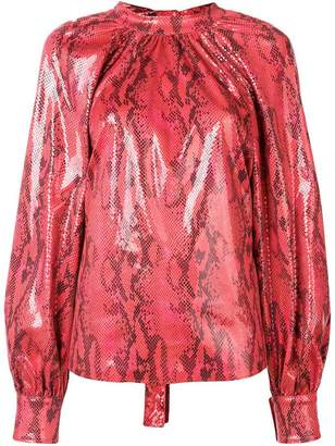 MSGM long-sleeved snake effect blouse