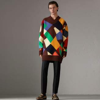 Burberry Patchwork Wool V-neck Sweater, Red