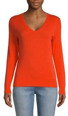 Saks Fifth Avenue Cotton, Silk & Cashmere Blend V-Neck Sweater