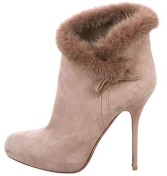 Christian Dior Fur-Trimmed Suede Booties Tan Fur-Trimmed Suede Booties