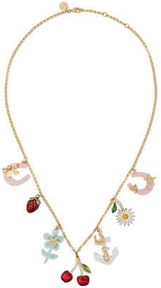 Miu Miu Multicoloured Charm Crystal Necklace