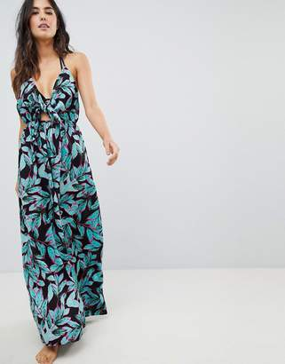 Asos DESIGN Woven Tie Front Maxi Beach Dress in Tropical Pop Print