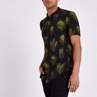 River Island Mens Black peacock short sleeve slim fit shirt