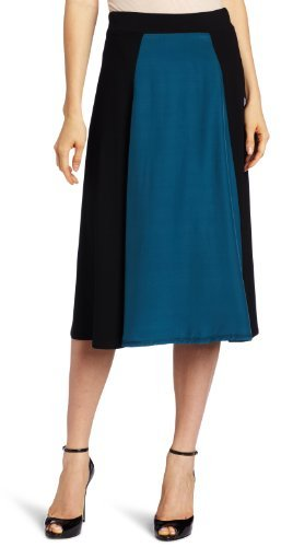 Three Dots Red Women's Skirt With Silk Panel