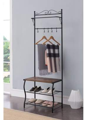 Pilaster Designs Tes Black Metal Industrial Style Entryway Coat & Hat Hall Tree Rack Stand With 5 Hooks, Bench & Storage Shelves