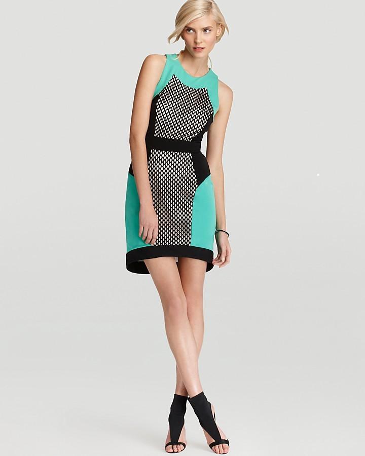 MILLY Mesh Panel Dress - Honeycomb