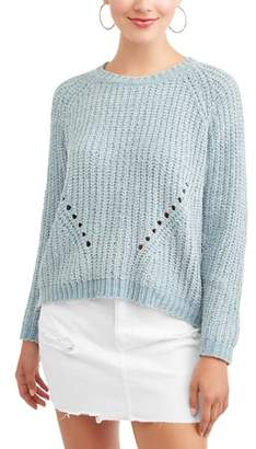 Poof! Juniors' Chenille Open Stitch Crew Neck Pullover Sweater