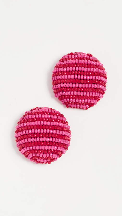 Coconut Striped Button Earrings