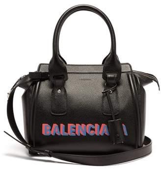 Balenciaga Monday Logo Print Leather Bowling Bag - Womens - Black Multi