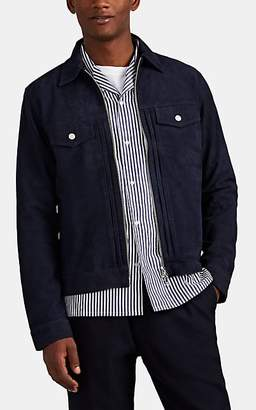 Officine Generale Men's Suede Zip-Front Trucker Jacket - Navy