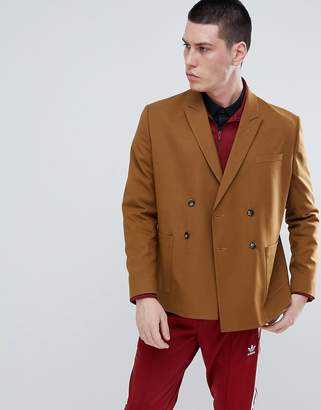 Asos DESIGN Boxy Double Breasted Blazer In Camel