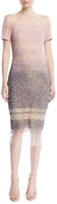 Pamella Roland Confetti-Sequins Short-Sleeve A-Line Cocktail Dress
