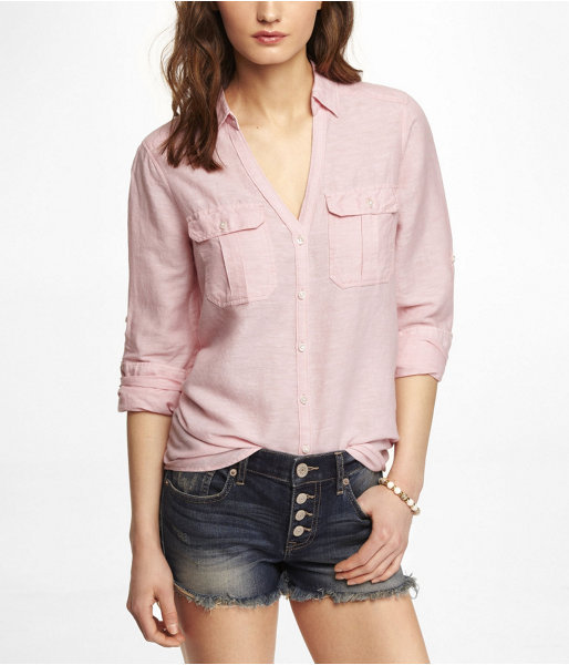 Express Linen-Cotton Relaxed Two Pocket Shirt