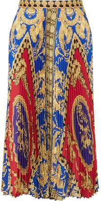 Versace Pleated Printed Satin Midi Skirt - Red
