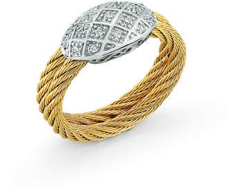 Alor 18k Two-Row Diamond Pave Ring Size 6.5