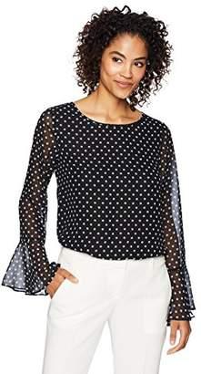 Lark & Ro Women's Long Sleeve Tunic with Bell Cuff Sleeve