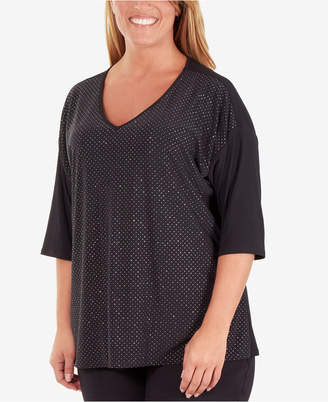 bd7570f19a5d29 NY Collection Plus Size Sequin-Front V-Neck Top
