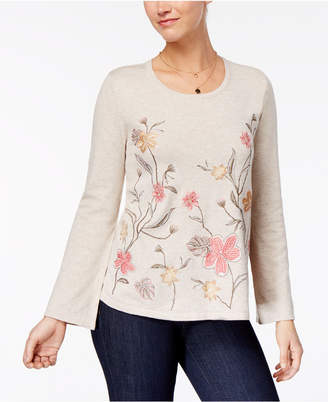 Style&Co. Style & Co Embroidered Bell-Sleeve Sweater, Created for Macy's