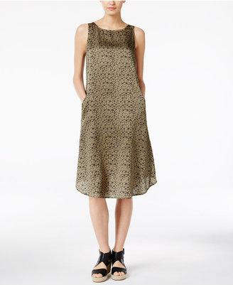 Eileen Fisher Printed Silk-Blend Shift Dress $238 thestylecure.com