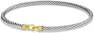 David Yurman Cable Collectibles Buckle Bangle Bracelet with 18K Gold, 3mm