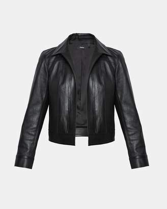 Theory Leather Shrunken Jean Jacket
