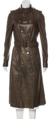 Burberry Leather Double-Breasted Trench Coat w/ Tags