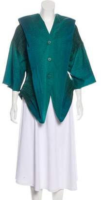 Issey Miyake Fete Plissé-Accented Long Sleeve Blouse w/ Tags