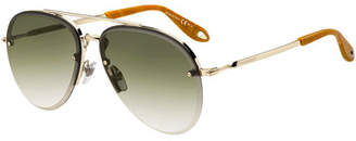 Givenchy Semi-Rimless Gradient Aviator Sunglasses