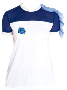 Prada Chiffon Ruffle Shoulder T-Shirt