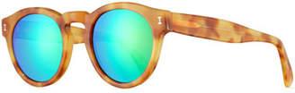 Illesteva Leonard Mirrored Round Sunglasses, Blonde Havana/Green