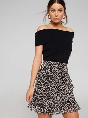 Portmans Australia Animal Print Ruffle Mini Skirt