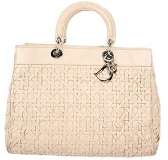 Christian Dior Large Woven Leather Lady Bag Tan Large Woven Leather Lady Bag