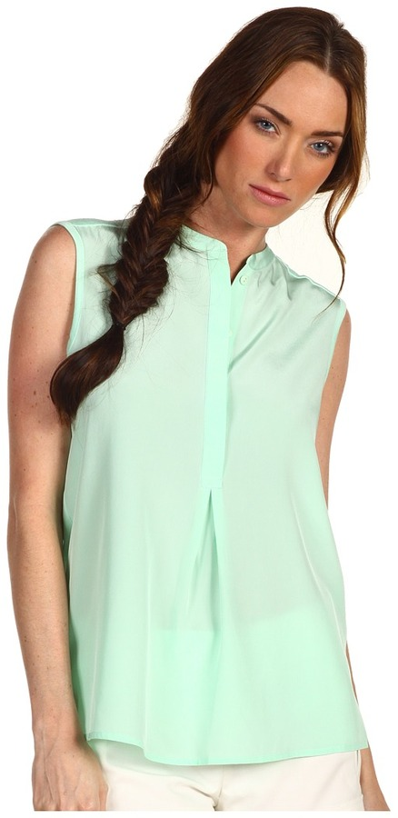 Tibi Relaxed Jersey Collared Blouse (Mint) - Apparel