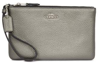 Coach Metallic Grey Grained Leather Pouch