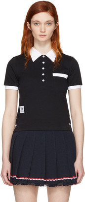 Thom Browne Navy Trompe L'Oeil Polo $390 thestylecure.com