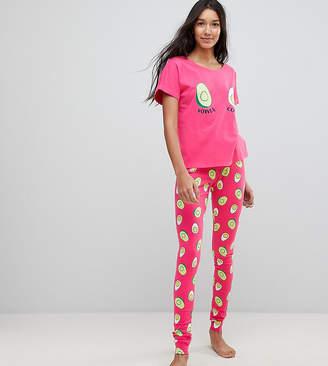 Asos Tall Avocado And Egg Power Couple Tee And Legging Pyjama Set