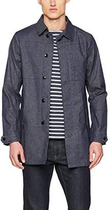 Scotch & Soda Men's Denim Clean Trench Coat Blue 48, XX-Large