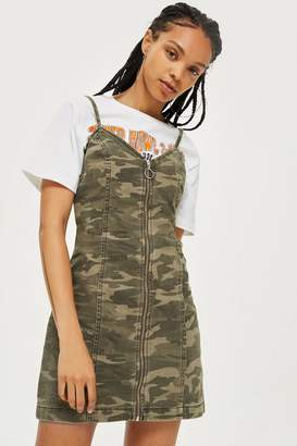 Topshop Camo Zip Up Denim Dress