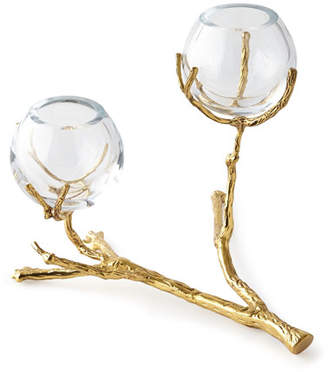 Global Views Twig Brass Two-Vase Holder