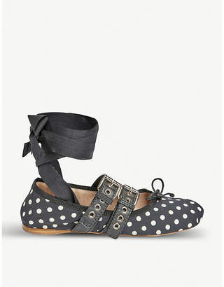 f3d18775656 Miu Miu Polka-dot leather-trimmed ballerina flats